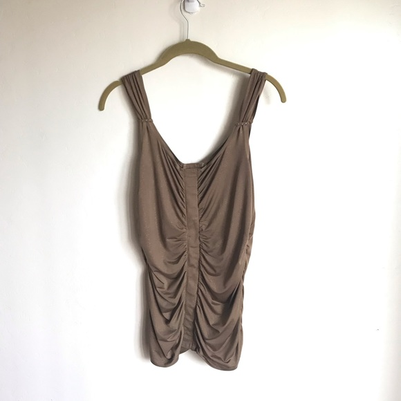 Tribal Tops - Tribal Ruched Tan Glitter Top Silver Beads Accents